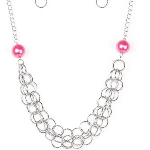 DARING DIVA PINK NECKLACE/EARRING SET
